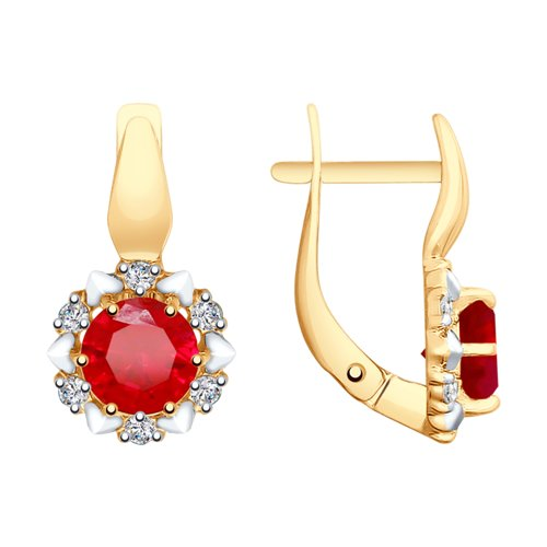 Серьги из золота с красными корундами (синт.) и фианитами (725646) - фото