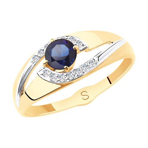 Кольцо из золота с синим корунд (синт.) и фианитами (715565) - фото