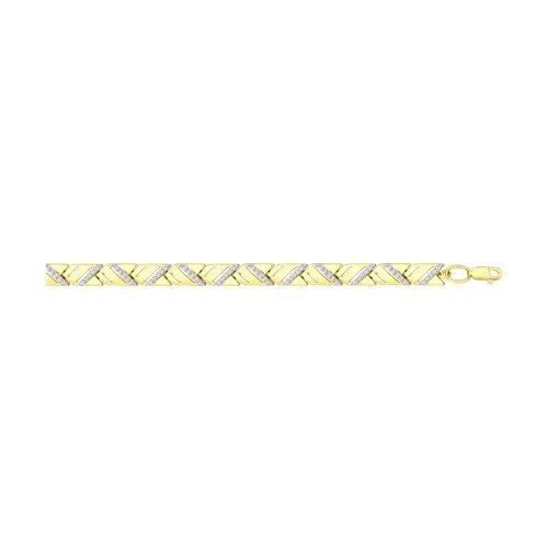 Браслет из желтого золота с фианитами (050982-2) - фото