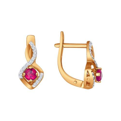 Серьги золотые с рубином и дорожками бриллиантов SOKOLOV