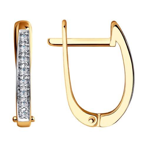 Классические золотые серьги с бриллиантами (1020971) - фото