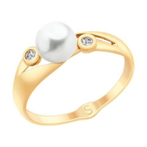 Кольцо из золота с жемчугом и фианитами (791069) - фото
