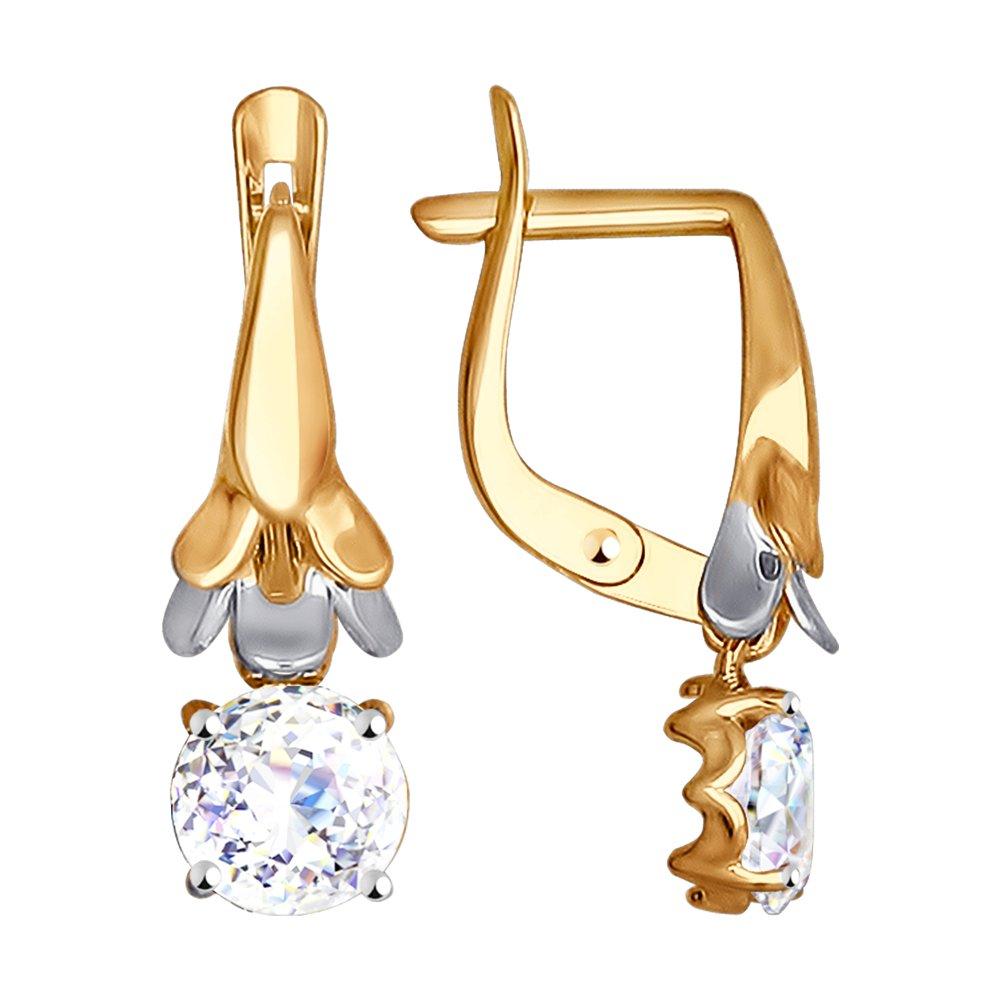 Золотые серьги с камнями Swarovski Zirconia SOKOLOV