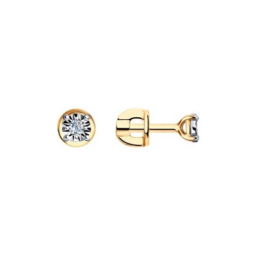 Серьги из комбинированного золота с алмазной гранью с бриллиантами