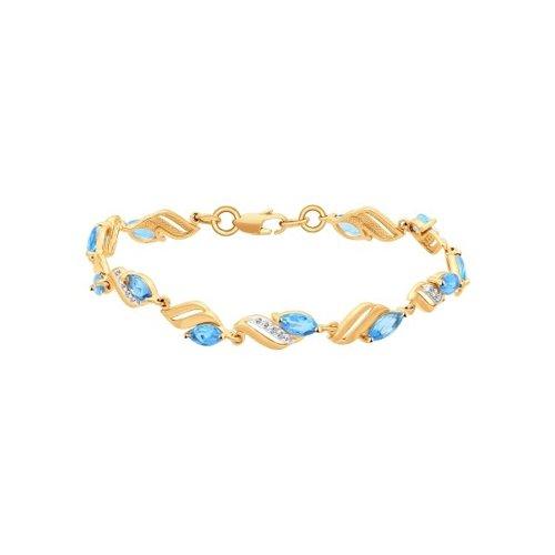 Браслет из золота с топазами и фианитами (750061) - фото №2