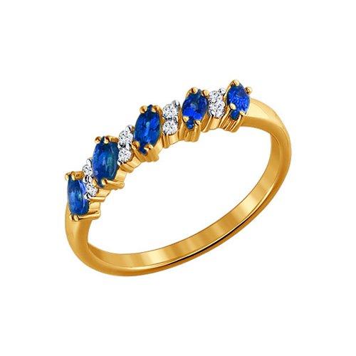 Кольцо из золота с бриллиантами и сапфирами 2010018 sokolov фото