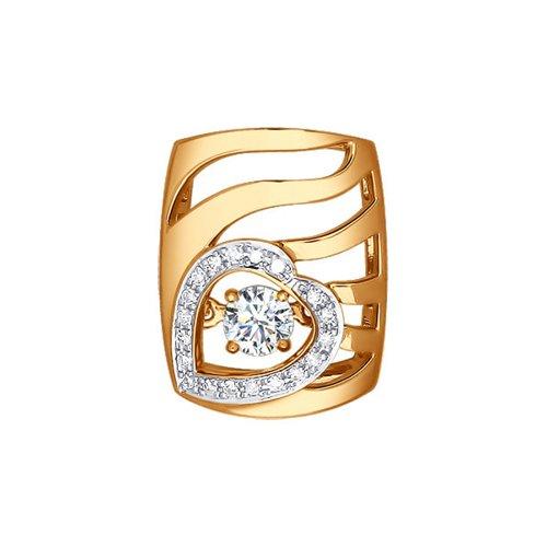 Фото - Золотая подвеска с дорожкой бриллиантов в форме сердца и swarovski SOKOLOV кольцо с дорожкой sokolov из чёрных бриллиантов