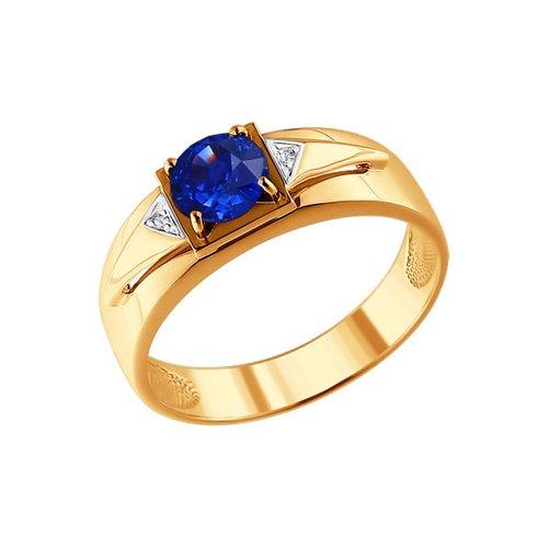 Печатка из золота с бриллиантами и корундом сапфировым (синт.)