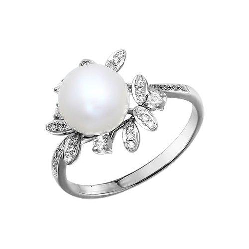 Фото - Кольцо SOKOLOV из белого золота с бриллиантами и жемчугом kabarovsky кольцо с жемчугом и бриллиантами из белого золота 21 1031 1500 размер 18