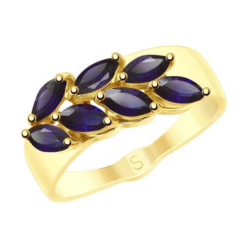 Кольцо из желтого золота с синими корундами (715224-2) - фото