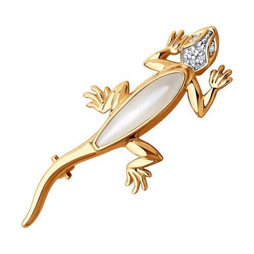 """Брошь """"Ящерица"""" из золота с бриллиантами и перламутром 1040035 sokolov фото"""