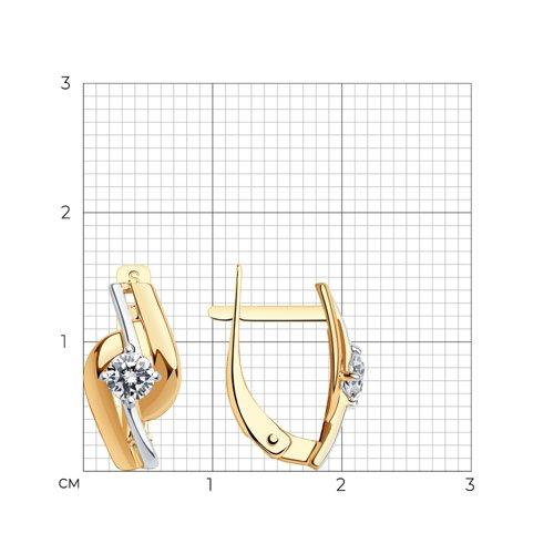 Серьги из золота с фианитами (027207) - фото №2