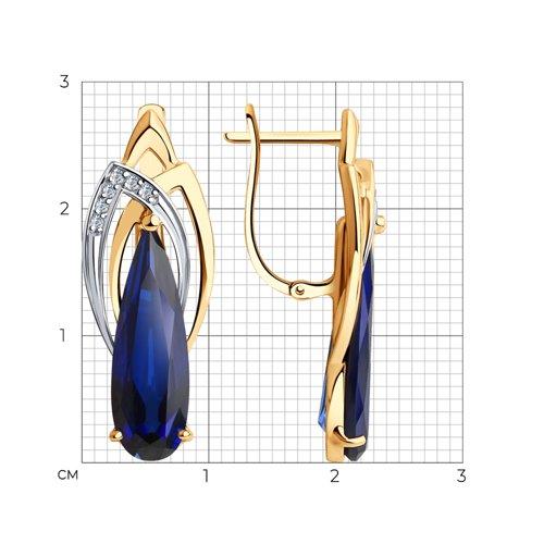 Серьги из золота с корундами и фианитами 727154 SOKOLOV фото 2