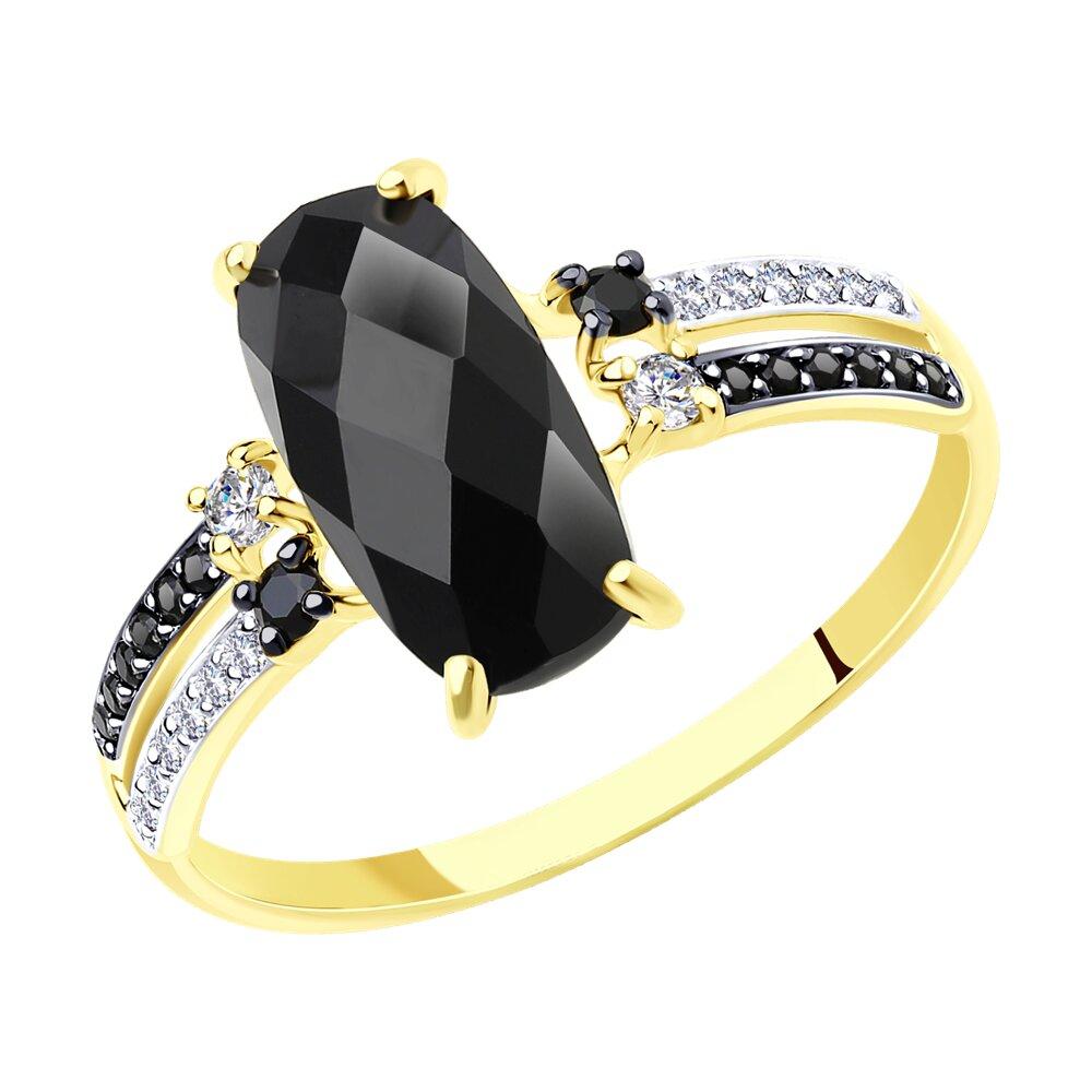 Кольцо SOKOLOV из желтого золота с чёрным агатом и бесцветными и чёрными фианитами золотое кольцо с чёрными и бесцветными фианитами sokolov