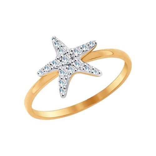 Фото - Золотое кольцо «Морская звезда» SOKOLOV кольцо с фианитами морская звезда sokolov