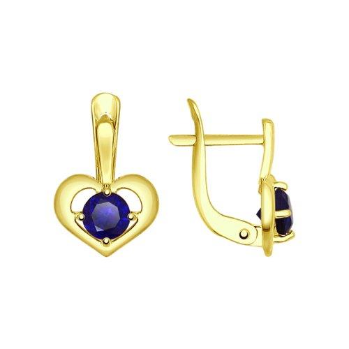 Серьги из золота с синими корундами (синт.) (725012-2) - фото