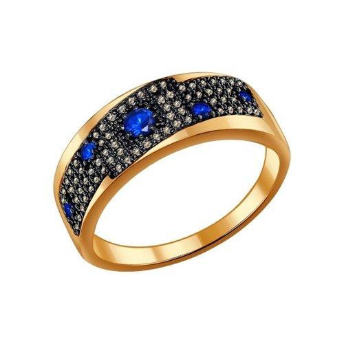 Кольцо из золота с коньячными бриллиантами и сапфирами (2010975) - фото
