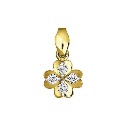 Подвеска клевер SOKOLOV из жёлтого золота с бриллиантами подвеска с топазом и бриллиантами из жёлтого золота