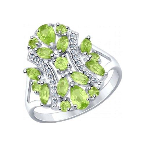Кольцо из серебра с хризолитами и фианитами