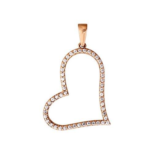 Подвеска в форме сердца украшенная фианитами SOKOLOV
