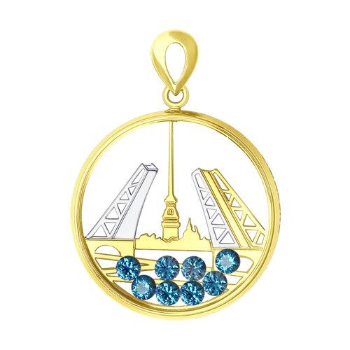 Подвеска из желтого золота с синими Swarovski Zirconia и минеральным стеклом (035412-2) - фото