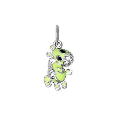 цена на Подвеска «Лошадь» SOKOLOV из серебра с зеленой эмалью c фианитами