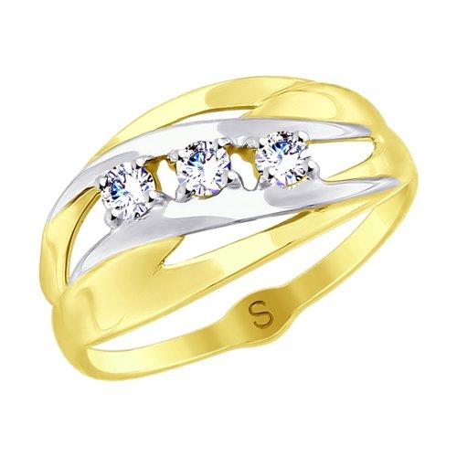 Кольцо из желтого золота с фианитами (017951-2) - фото
