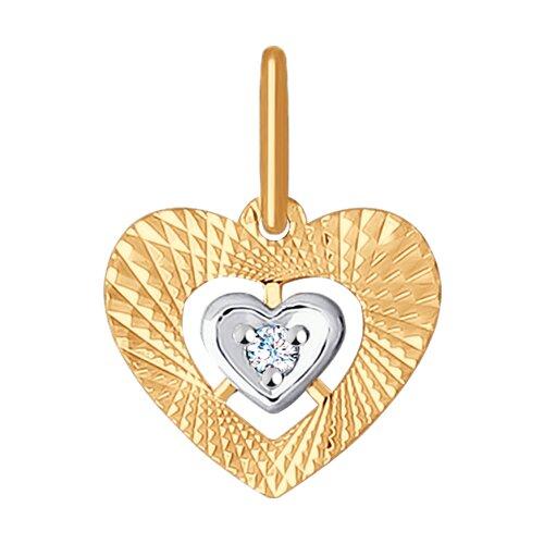 """Подвеска """"Сердечко"""" из золота с алмазной гранью с фианитом"""