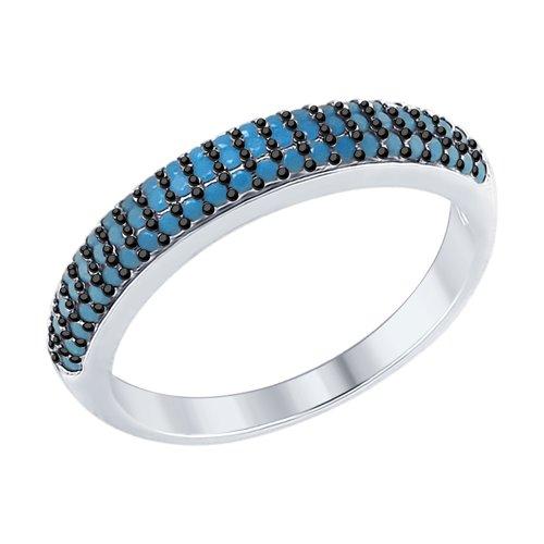 Кольцо из серебра с голубыми ситаллами