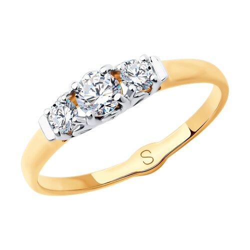 Кольцо из золота с фианитами (018046) - фото