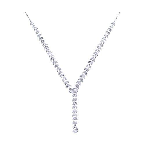 Колье из серебра с фианитами (94070229) - фото