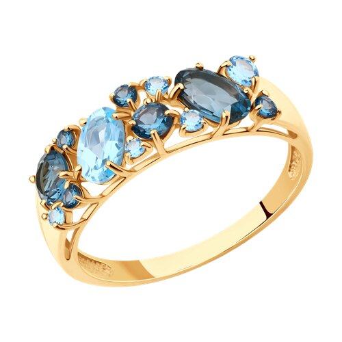 Кольцо из золота с синими топазами (714174) - фото