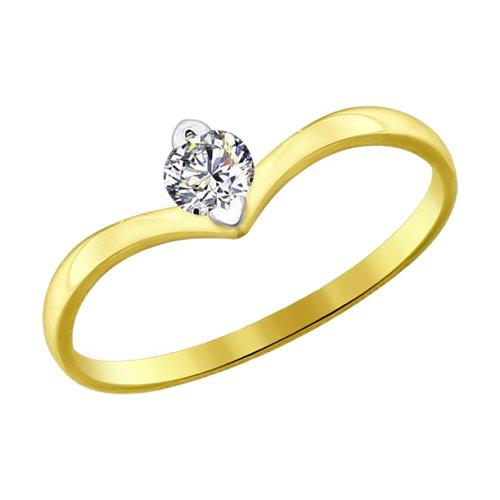 Кольцо из желтого золота со Swarovski Zirconia (81010223-2) - фото