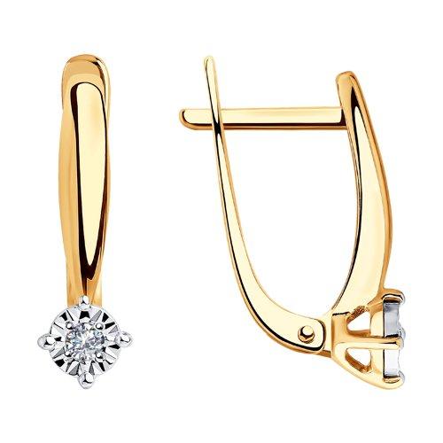 Серьги из комбинированного золота с бриллиантами (1021322) - фото