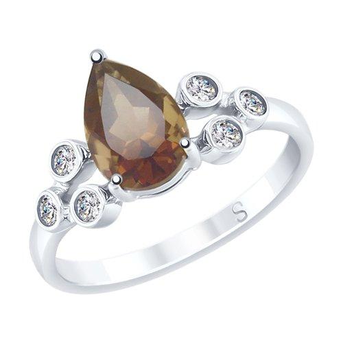 Кольцо из серебра с раухтопазом и фианитами (92011711) - фото