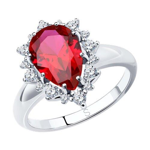 Кольцо из серебра с корундом рубиновым (синт.) и фианитами (84010014) - фото