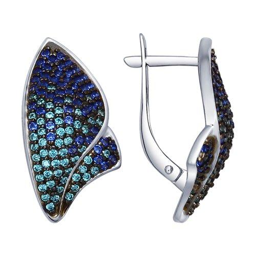 Серьги из серебра с зелеными и синими фианитами (94022556) - фото