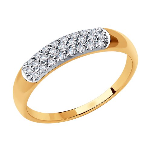 Кольцо из золота с фианитами 018433 sokolov фото