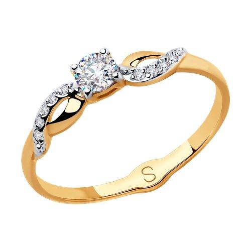 Кольцо из золота с фианитами (018095) - фото