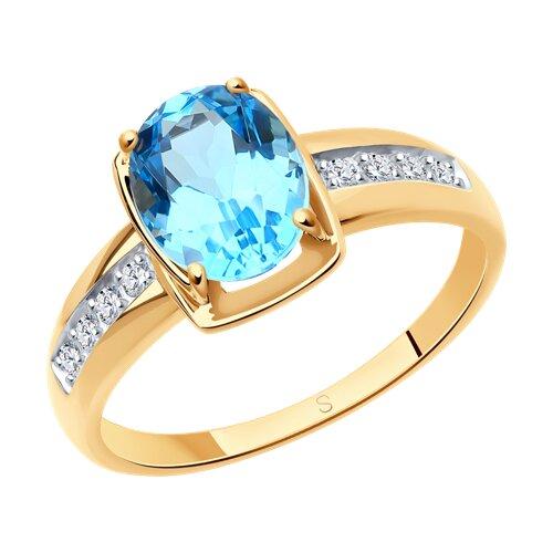 Кольцо из золота с топазом и фианитами 715312 SOKOLOV фото