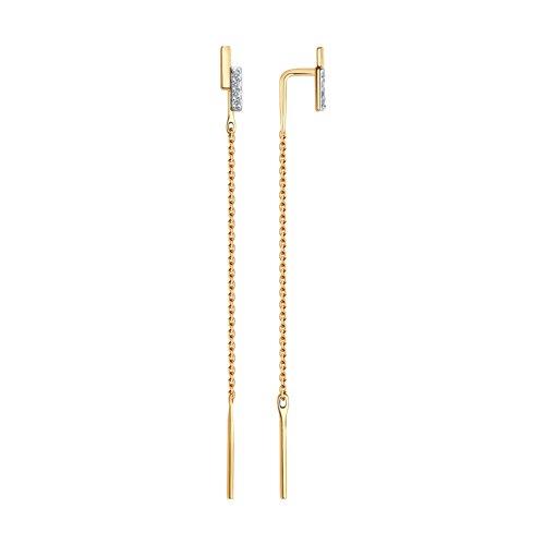 Серьги-продевки из золота с фианитами