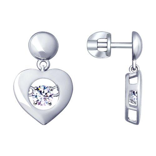 Серьги из серебра с фианитами (94022957) - фото