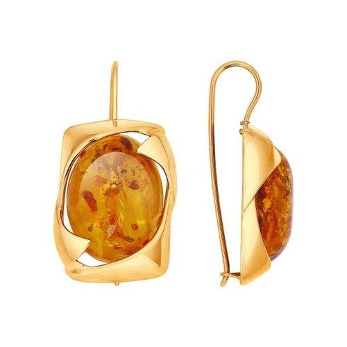 Серьги SOKOLOV из золота с янтарём