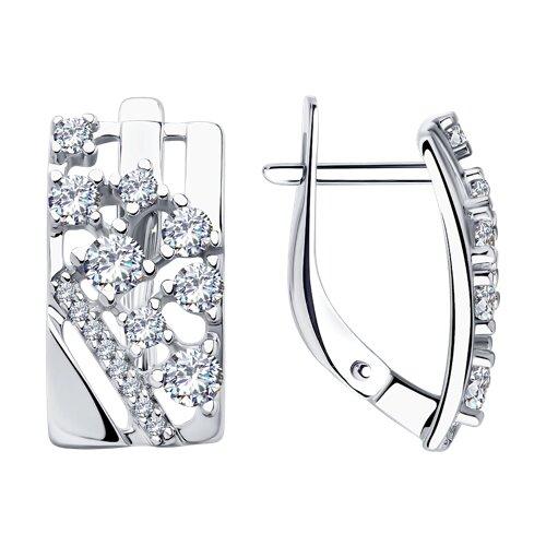 Серьги из серебра с фианитами (94023294) - фото