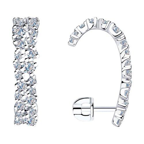 Серьги из серебра с фианитами (94023637) - фото