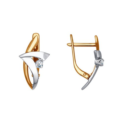 Украшенные бриллиантом серьги из комбинированного золота