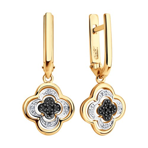 Серьги из золота с бесцветными и чёрными бриллиантами 7020057 SOKOLOV фото 3