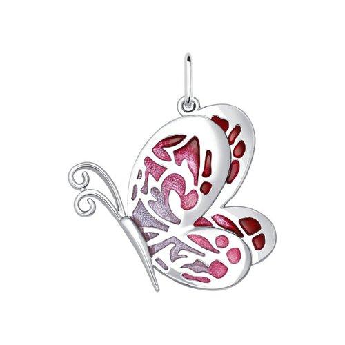 Подвеска бабочка SOKOLOV из серебра с красной и розовой эмалью