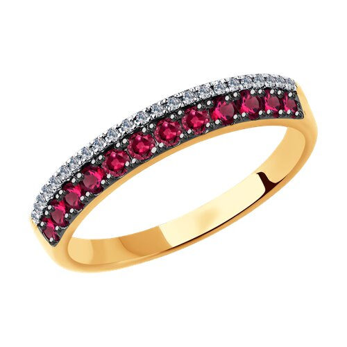 Кольцо из золота с бриллиантами и рубинами (4010619) - фото