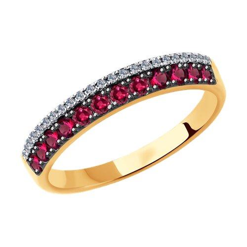 Кольцо SOKOLOV из золота с бриллиантами и рубинами фото